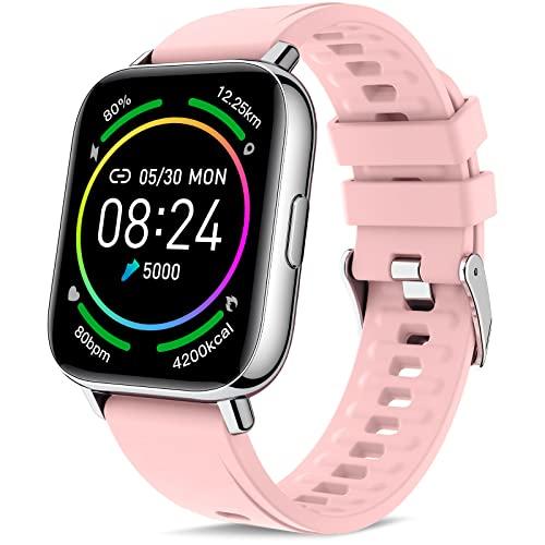 Judneer Smartwatch Mujer, 1.69'' Reloj Inteligente Rosa IP67 Impermeable, Pulsera Pantalla Táctil Completa con Monitor Sueño Contador de Caloría Pulsómetros Podómetro para Smart Watch Android y iOS