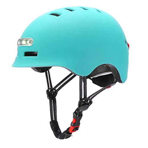 OUCRIY Casco de bicicleta con luz LED, casco de seguridad inteligente con faros y luz trasera, forma integral, casco de bicicleta de montaña, casco USB para hombre y mujer