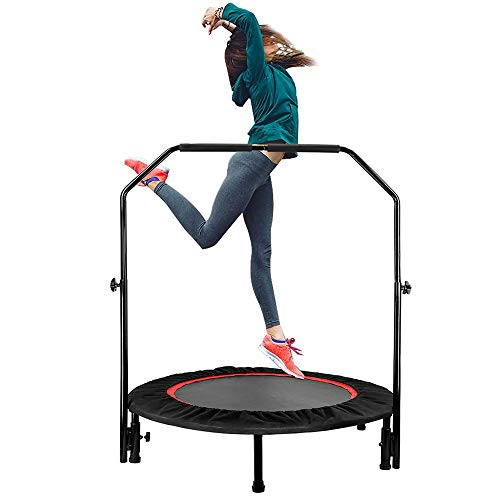 40' Foldable Trampoline Fitness Rebounder with Adjustable Foam Handrail Max Load 330lbs Home Exercise Trampoline Stable Jumping Cardio Trainer for Kids Adults Indoor/Outdoor Gym Workout Body Exercise