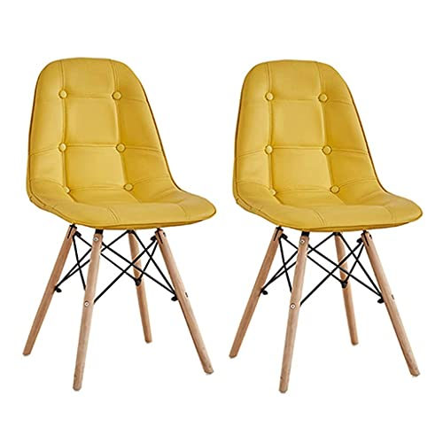 HYRGLIZI Dining Chairs PU Leather Cushion Upholstered Modern Style Kitchen Side Padded Chair with Solid Wood Legs Stool Set of 2 (Color : Yellow)