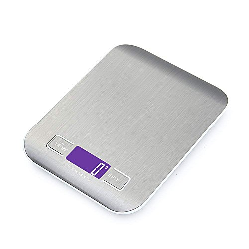 Báscula digital inteligente de cocina con función de tara, 5 kg / 11 lb Báscula electrónica profesional de acero inoxidable de alta precisión para hogar y cocina, negra, (2 baterías incluidas)3
