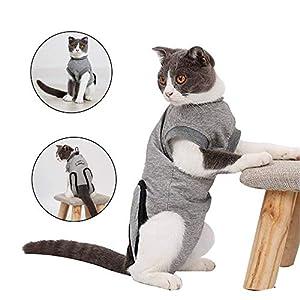 Doglemi Combinaison de récupération chirurgicale pour chats et chiens avec col en E et boucle élastique pour plaies et maladies de peau