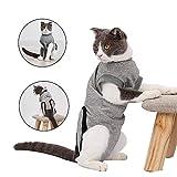 Doglemi - Traje suave de recuperación de cirugía, heridas y enfermedades de la piel en interiores con cuello en E y hebilla elástica para gatos y perros