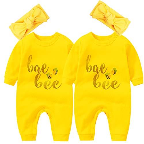 YSCULBUTOL Body de bebé Twins para niño unisex con diadema, conjunto de diademas para el cabello - amarillo - 0-3 meses
