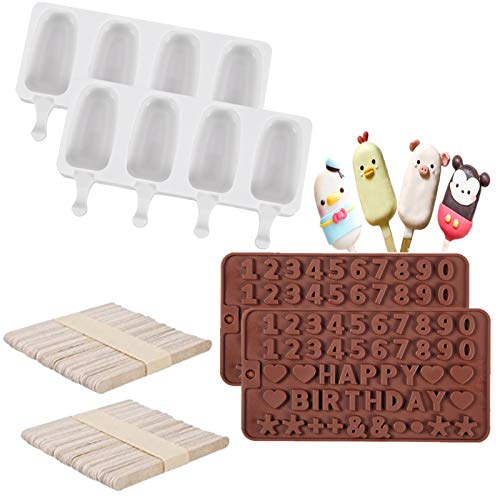 2 Pack Silicone Ice Pop Molds 4 Cavities Baking Popsicle Molds Ice Pop Molds Cakesicle Mold for DIY Ice Popsicleand 100 Wooden Sticks with Silicone Letter Mold and 2 Pieces Number Chocolate Molds