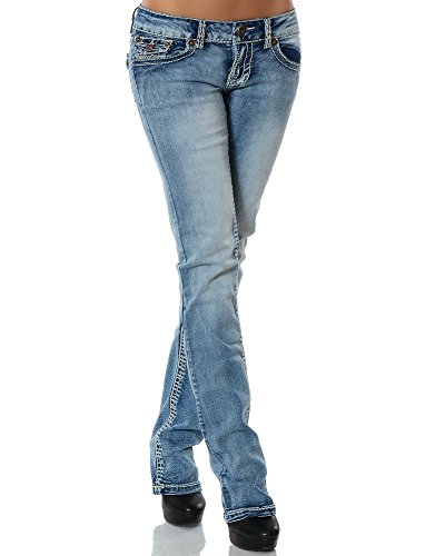 DaleusDamen Jeans Straight Leg (Gerades Bein Dicke Nähte Naht weitere Farben) No 12923 , BlauJeansblau, 36