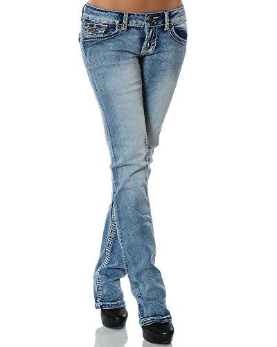 DaleusDamen Jeans Straight Leg (Gerades Bein Dicke Nähte Naht weitere Farben) No 12923 , BlauJeansblau, 40