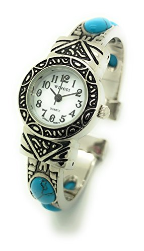Ladies Silver Metal Bangle Cuff Fashion Watch with Stones Pearl Dial Wincci (Turquoise)