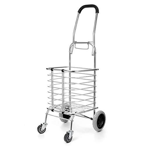 Robasiom Einkaufstrolley, zusammenklappbar, Metall, 4 Räder, 59 kg