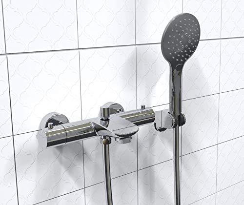 EISL CLT023ACR CLAUDIO Thermostat Badewannenarmatur inkl. Handbrause und Halter, Wasserhahn für die Badewanne mit Verbrühschutz, Wannenthermostat Badarmatur mit Mischbatterie in Chrom