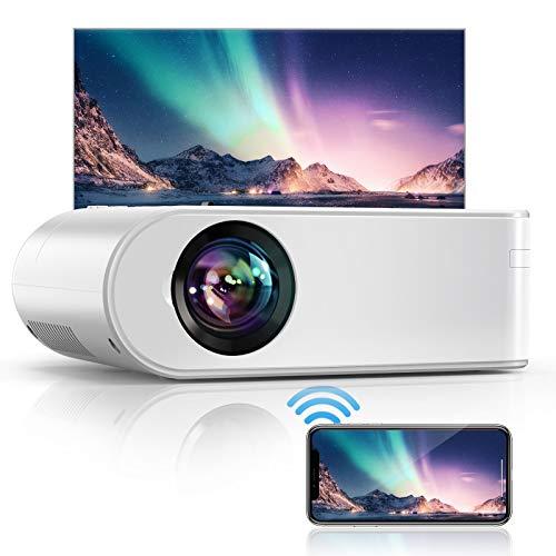 Vidéoprojecteur WiFi, YABER 5800 Lumens Mini Projecteur Soutien Full HD 1080P Rétroprojecteur avec Fonction de Zoom, Projecteur WiFi Home Cinéma Compatible iPhone, Android, TV Stick