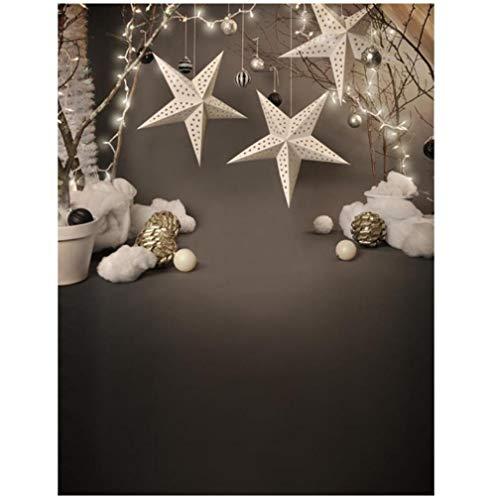 Vinylfotografi bakgrund snöflinga julstjärna datortryckt barn julbakgrund för fotostudio 8 x 15 fot