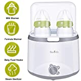 Baby Bottle Warmer Bottle Sterilizer 5 in 1 Smart Bottle Warmer Deluxe Baby Food Heater for Breast Milk Formula with LED Real Time Display Evenly Warming Timer Accurate Baby Shower Gift
