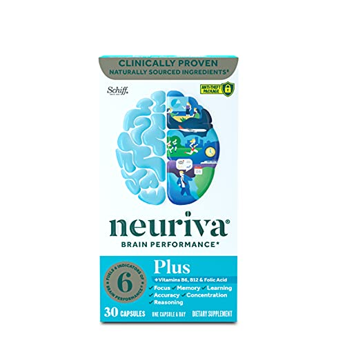 Neuriva Nootropic Brain Support Supplement - Plus Capsules (30 count in a box) Phosphatidylserine, B6, B12 and Folic Acid, Supports Focus Memory Concentration Learning Accuracy and Reasoning