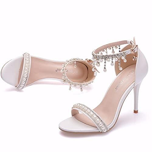 Jerry Zapatos de Novia Femeninos, Sandalias de tacón Alto de 9 cm,...