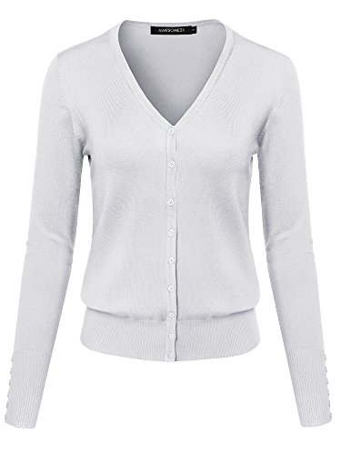 Basic Solid V-Neck Button Closure Long Sleeves Sweater Cardigan White S