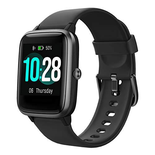 HAFURY Gesundheits Smartwatch, Armbanduhr mit Pulsuhr Fitness Tracker, Sportuhr mit Schrittzähler-Schlafmonitor-Stoppuhr für Damen Herren und Kinder(Schwarz)