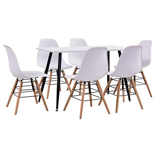 Goliraya Juego de Comedor 7 Piezas plastico Blanco,Conjunto de Mesa y 6 sillas de Comedor | Alto Grado de Confort | Tablero de la Mesa Robusto