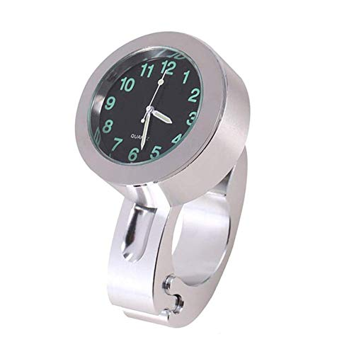 iSpchen Motorraduhr Wasserdicht Moto Uhr Uhren Clock Motorrad Lenker 22-25 mm Motorräder Zubehör Universal Auto Uhr für Motorrad Fahrrad Lenkeruhr Silber