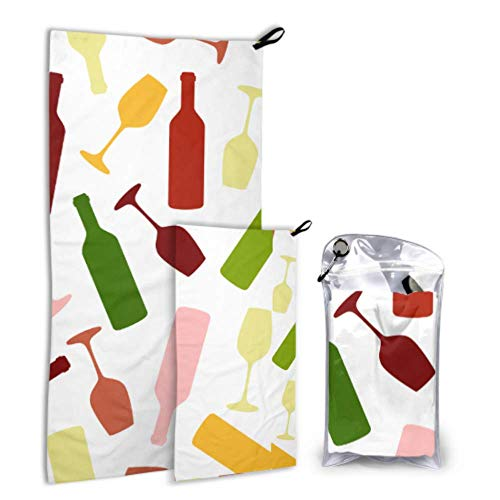 WUTMVING Wine Bottle Dringking 2 Pack Microfiber Outdoor Quick-Drying Towel Beach Women Accessories Set Fast Drying Best for Gym Travel Backpacking Yoga Fitnes