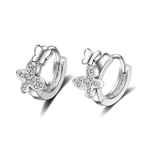 Double Butterfly Zircon Small Hoop Earrings for Baby Girls Cute Crystal Animal Loop Huggies Earring Jewelry