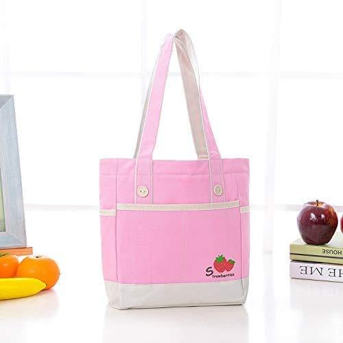 DINEGG Oxford Tela del Papel de Aluminio refrigerador Aislado Bolsa de Asas portátil Caja de Almuerzo del Paquete de Naranja Manzana, Nombre de Color: Naranja de Apple QQQNE (Color : Pink Strawberry)