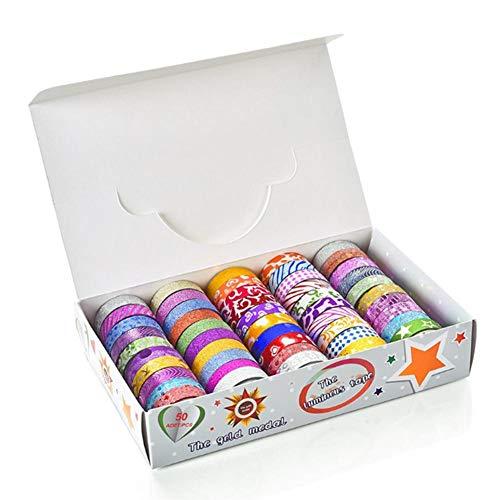 50 Rolls Glitter Washi Tape Set, Washi Masking Decorative Tapes, Washi Masking Great DIY Decor Scrapbooking Sticker Masking Paper Decoration Tape School Party Supplies Photo #5