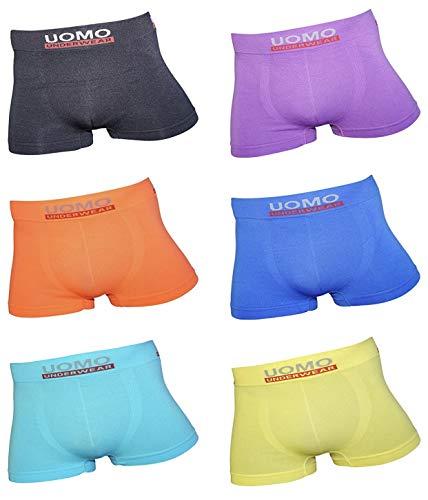Uomo Pack de 12 Calzoncillos para Niños/Adolescestes SIN Costuras, Elásticos, Suaves y Cómodos. Colorido/Modelos Modernos, Fabricados en Microfibra