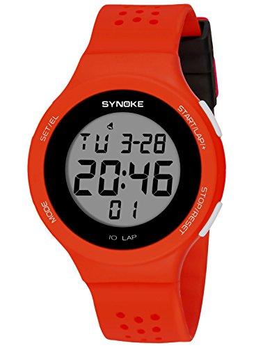 SYNOKE - Reloj Digital de Deportes Ultra-Delgado Hombre Mujer Reloj Luminoso LED Alarma Date Resistente al Agua 50m de Pulsera Transpirable Reloj Moderno Colorido para Adolescentes Estudiantes - Rojo