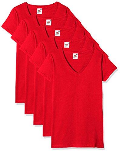 Fruit of the Loom Valueweight Camiseta, Rojo, XL (Pack de 5) para Mujer