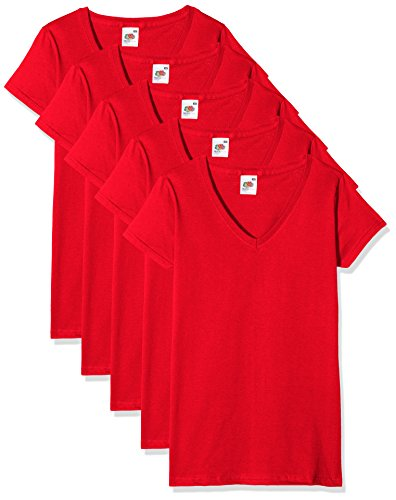Fruit of the Loom Damen Regular Fit T-Shirt Valueweight V neck Lady-fit 5 Pack, Rot (Red 40), XS (Herstellergröße: XS)