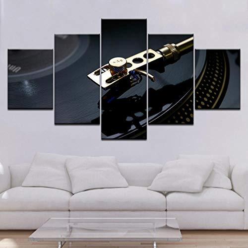 WarmbERL canvas afdrukken Hd Poster Home Decor 5 stuks DJ Turntable Paintings klassieke Nostalgische platenspeler Framework afdrukken op canvas