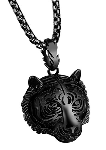 PAMTIER Men's Stainless Steel Solid Tiger Head Pendant Chain Necklace Black