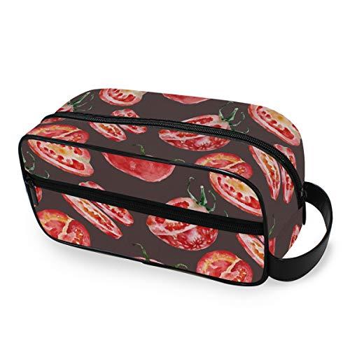 LZXO Bolsa de cosméticos colgante acuarela pintura tomate bolsa de aseo de viaje, organizador de cremallera, bolsa de maquillaje profesional, portátil, neceser