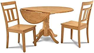 Burlington 3 Piece small kitchen table set -kitchen table and 2 dining chairs in Oak finish