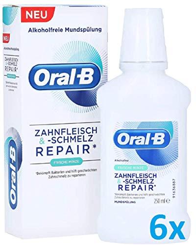 Oral B (6 x 250ml) Zahnfleisch & -Schmelz Repair Mundspülung Frische Minze
