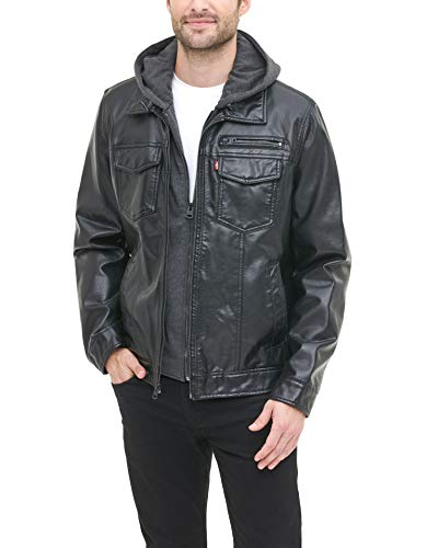 Levi's Men's Faux Leather Trucker Hoody with Sherpa Lining (Regular and Big and Tall Sizes), Black, Large