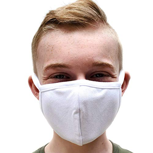 Buttonsmith White Adult Cotton Face Mask - Two Layer Soft T-Shirt Material - Washable - Adult One Size - Made in The USA - Cover Your Nose and Mouth
