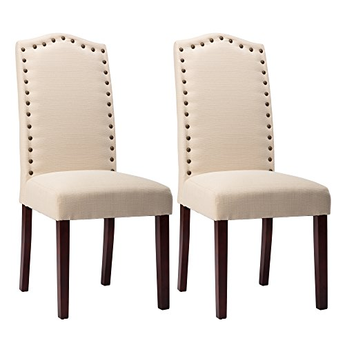 NOBPEINT Upholstered Dining Room Chair Set with Copper Nailhead Trims, Arched Backrest Armless Design Padded Cushion,Set of 2(Beige)