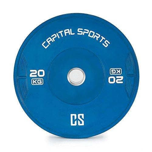 Capital Sports Nipton Bumper Plate - Hantelscheibe, Gewichtsplatte, Hantelscheibe, 1 x 20 kg, Hartgummi, strapazierfähig, 50.4 mm Aufnahmeöffnung, geeignet für Weight-Drops/Abwürfe, blau