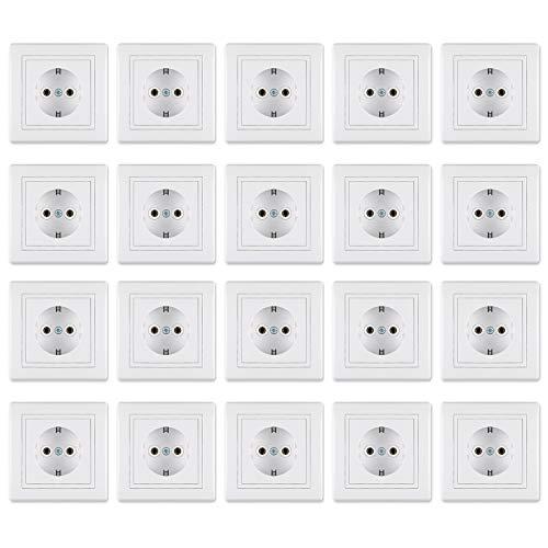 Steckdosen 20er-Set - Vorteilspack | 20 x Schutzkontakt Steckdose inkl. Rahmen (komplett) Weiß (RAL 9003) für die Unterputz Montage | 20-teilig | 16A/250V~ inkl.Rahmen (komplett)