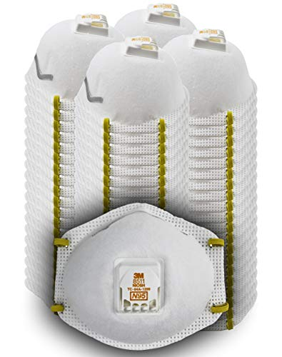 3M 8511 Particulate Disposable Respirator, N95, Grinding, Sanding, Sawing, Sweeping, Dust, Smoke, 80 Pack
