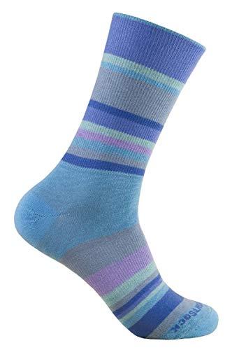Wrightsock Profi Sportsocke, Laufsocke, Wandersocke in blau hellblau grau lila Stripes gestreift, doppel-lagig, STRIDE quarter mittellang Gr. M
