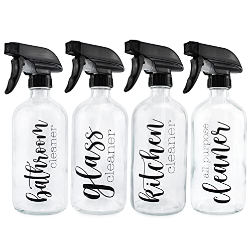 Cornucopia Cleaning Spray Bottles Set, Pre Labeled (Set of 4, 16-Ounce); Refillable Trigger Sprayers with Mist/Stream Settings and Farmhouse Script Labels: Glass, All-Purpose, Kitchen and Bathroom Cleaner