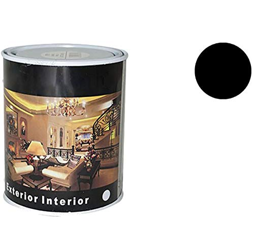 Pintura Esmalte al Disolvente para Madera y Metal, Pintura Alquidica de Rápido Secado para Superfícies Interiores y Exteriores(Negro Brillo, 375 ML)