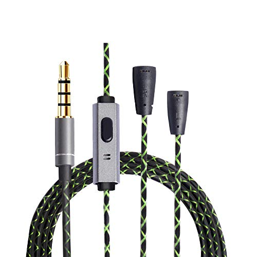 OKCSC EXS3twM Headphone Replacement Cord 5N OFC Earphones Upgrade Cable Headset Conversion Cable for Sennheiser ie80s ie80 ie8i ie8 (with Mic)