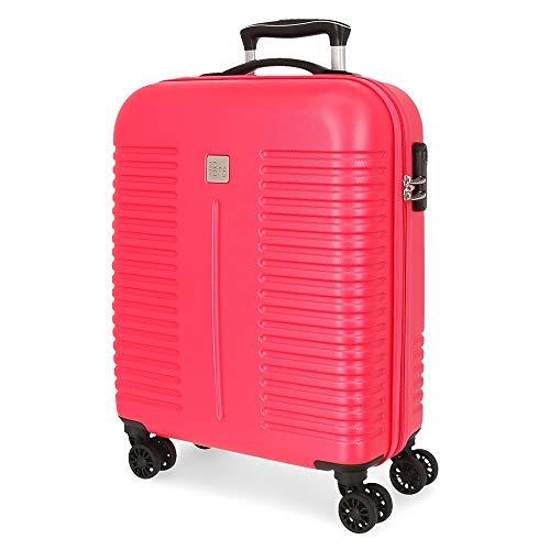 Roll Road India Maleta de Cabina Rosa 40x55x20 cms Rígida ABS Cierre combinación 37L 2,5Kgs 4 Ruedas Dobles Equipaje de Mano