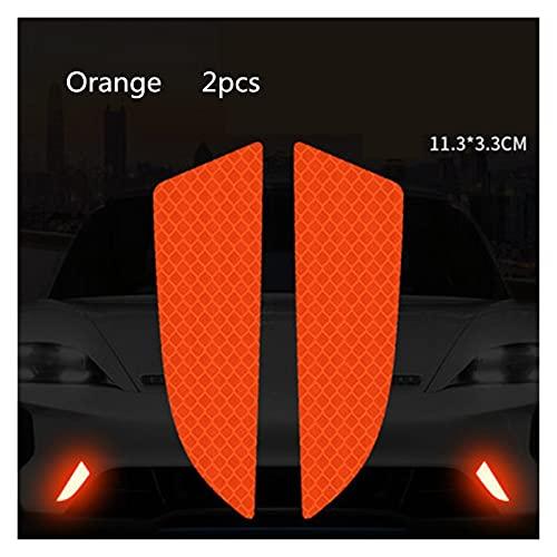 HYSJLS 6 unids/Set Reflector Cinta Reflector Protectora Protectora Pegatina rasguños de Seguridad Advertencia reflexivo Auto Pegatinas acesorio Cascos Scooters (Color : Orange)