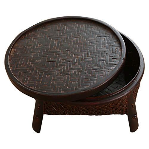 Tables Meubles Bureau de Salon Ronde ménage Porte Chambre Balcon à thé Petit casier Rangement Panier de Rangement en rotin (Color : Brown, Size : 30cm)
