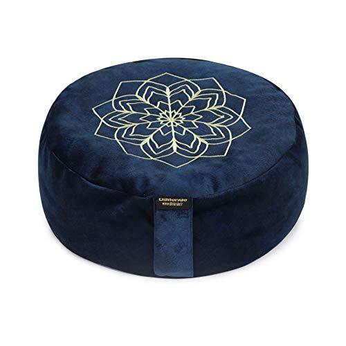DiMonde Zafu Coussin de Méditation et Yoga Rond - Housse Amovible et Lavable - Rembourrage en Coques de Sarrasin - Poignée latérale - Sac en Coton - Mandala - Hauteur 13 cm Diamètre 33 cm Bleu